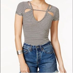 Free People Frenchie Striped Cut Out Top / Tee